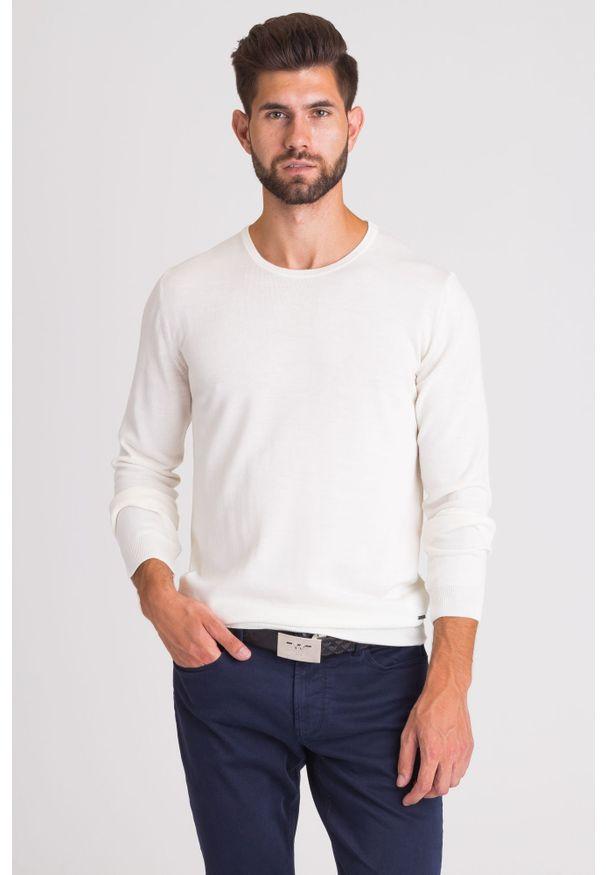 Sweter Joop! Collection młodzieżowy, z okrągłym kołnierzem, z aplikacjami