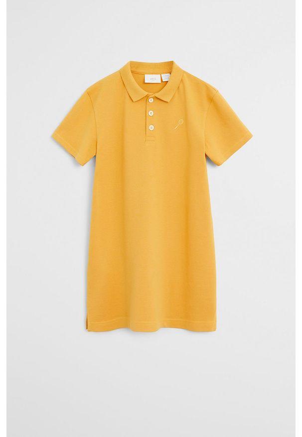 Żółta sukienka Mango Kids mini, z krótkim rękawem, na co dzień, prosta
