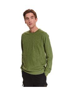 TOP SECRET - Bluza strukturalna. Kolor: brązowy. Materiał: bawełna, tkanina. Długość rękawa: długi rękaw. Długość: długie. Sezon: jesień