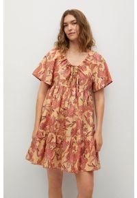 mango - Mango - Sukienka Indra. Kolor: żółty. Materiał: bawełna, materiał. Długość rękawa: krótki rękaw