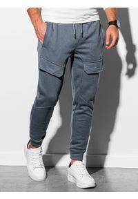 Ombre Clothing - Spodnie męskie dresowe joggery P904 - grafitowe - XL. Kolor: szary. Materiał: dresówka