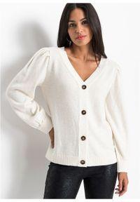 Sweter rozpinany z rękawami balonowymi bonprix biel wełny. Typ kołnierza: dekolt w serek. Kolor: biały. Materiał: wełna #7