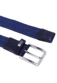 Strellson - Pasek Męski STRELLSON - 3165 Navy/Marine 420. Kolor: niebieski. Materiał: materiał, zamsz, skóra. Styl: marine