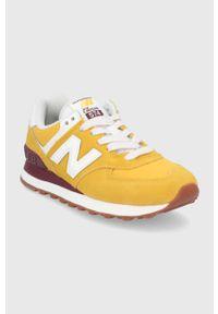 Pomarańczowe sneakersy New Balance z cholewką, z okrągłym noskiem, na obcasie, na niskim obcasie