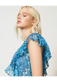 TwinSet - TWINSET - Niebieska maxi sukienka na jedno ramię. Okazja: na imprezę. Kolor: niebieski. Wzór: kwiaty, nadruk. Styl: wakacyjny. Długość: maxi