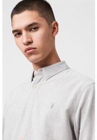 AllSaints - Koszula Hungtingdon. Kolor: szary. Materiał: tkanina. Wzór: gładki
