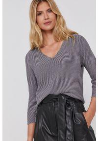 Marella - Sweter. Kolor: szary. Materiał: dzianina, materiał. Długość: długie