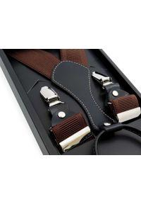 Modini - Długie brązowe szelki męskie do spodni XL112. Kolor: brązowy. Materiał: skóra, guma