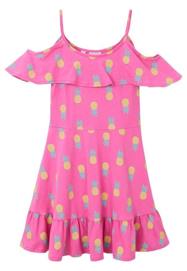 Różowa sukienka bonprix na ramiączkach, z nadrukiem