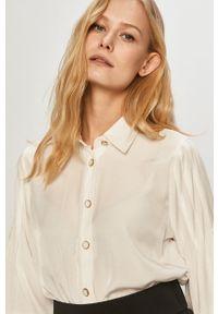 Biała koszula Vila na co dzień, gładkie, z klasycznym kołnierzykiem, klasyczna