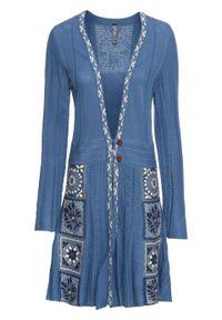 Niebieski sweter bonprix z aplikacjami, z dekoltem w serek, długi