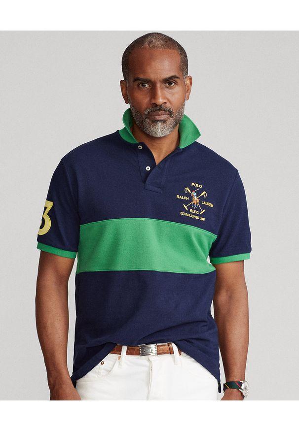 Ralph Lauren - RALPH LAUREN - Granatowo-zielona koszulka polo Custom Slim FIt. Typ kołnierza: polo. Kolor: niebieski. Materiał: bawełna. Długość: długie. Wzór: haft, aplikacja. Styl: sportowy