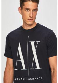 Niebieski t-shirt Armani Exchange z okrągłym kołnierzem, na co dzień, casualowy