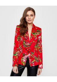 ALEXANDRE VAUTHIER - Czerwona marynarka z kwiatowym nadrukiem. Kolor: czerwony. Materiał: jeans, materiał. Długość rękawa: długi rękaw. Długość: długie. Wzór: kwiaty, nadruk. Sezon: wiosna. Styl: klasyczny