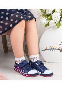 UNDERLINE - Trampki dziecięce Underline 25B1624 Granatowe. Zapięcie: rzepy. Kolor: niebieski. Materiał: tkanina, skóra, guma