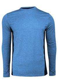Niebieski T-shirt (Koszulka), Długi Rękaw, Longsleeve -Brave Soul- Termoaktywny, Wyszczuplający. Okazja: na co dzień. Kolor: niebieski. Materiał: poliester, elastan. Długość rękawa: długi rękaw. Długość: długie. Styl: sportowy, casual
