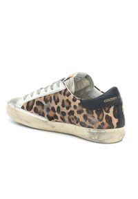 GOLDEN GOOSE - Sneaksersy w lamparcie cętki Superstar. Kolor: brązowy. Materiał: guma, jeans. Wzór: motyw zwierzęcy, aplikacja