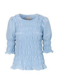 Freequent Marszczona bluzka Eloise błękitny female niebieski S (38). Kolor: niebieski. Materiał: tkanina