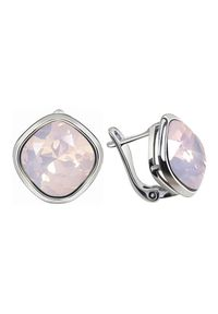 Polcarat Design - Rodowane srebrne kolczyki z kryształami Swarovski K3 2092. Materiał: srebrne. Kolor: srebrny. Wzór: aplikacja. Kamień szlachetny: kryształ