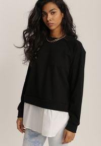 Renee - Czarna Bluza Ilelaira. Kolor: czarny. Materiał: jeans. Długość rękawa: raglanowy rękaw. Długość: długie