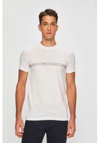 Biały t-shirt Armani Exchange z okrągłym kołnierzem, casualowy, z nadrukiem