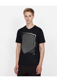 Armani Exchange - ARMANI EXCHANGE - Czarny t-shirt z geometrycznym wzorem. Kolor: czarny. Materiał: materiał. Wzór: geometria