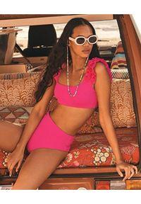 AGUA BENDITA - Różowy dół od bikini Alicia Oazze. Stan: podwyższony. Kolor: różowy, wielokolorowy, fioletowy. Materiał: materiał