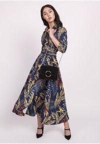 e-margeritka - Sukienka midi rozkloszowana we wzory - 44. Materiał: skóra, materiał, poliester. Typ sukienki: kopertowe, rozkloszowane. Styl: elegancki. Długość: midi