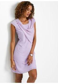 Sukienka szyfonowa w optyce warstwowej bonprix dymny bez. Typ kołnierza: dekolt woda. Kolor: fioletowy. Materiał: szyfon. Styl: elegancki
