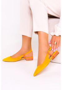Casu - żółte baleriny casu z odkrytą piętą skórzana wkładka d21x3/y. Kolor: żółty. Materiał: skóra