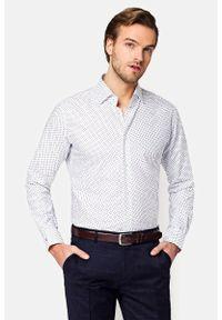 Lancerto - Koszula Biała z Nadrukiem Vivien. Kolor: biały. Materiał: bawełna, tkanina, jeans. Wzór: nadruk