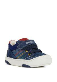 Niebieskie buty sportowe Geox z cholewką, na rzepy, z okrągłym noskiem