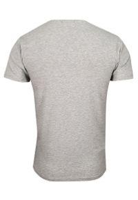 Szary Jednokolorowy T-shirt Męski, Krótki Rękaw -Just Yuppi- Koszulka, BASIC, w Serek, V-neck. Okazja: na co dzień. Typ kołnierza: dekolt w serek. Kolor: szary. Materiał: bawełna, elastan. Długość rękawa: krótki rękaw. Długość: krótkie. Styl: casual