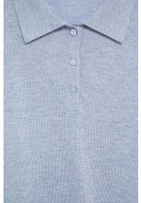 Niebieski sweter mango polo, krótki