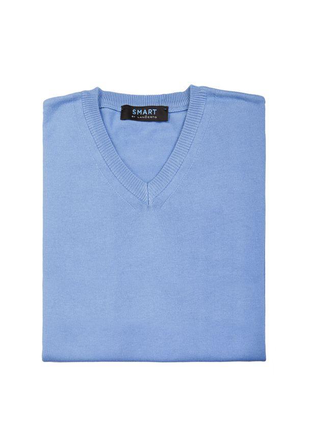 Niebieski sweter Lancerto z klasycznym kołnierzykiem, w kolorowe wzory, klasyczny
