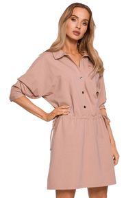 MOE - Sukienka koszulowa mini szmizjerka ściągana w talii mokka. Materiał: bawełna, dzianina. Typ sukienki: koszulowe, szmizjerki. Długość: mini