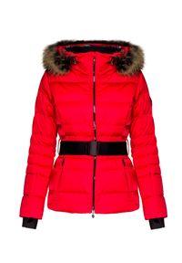 Czerwona kurtka narciarska Descente z aplikacjami
