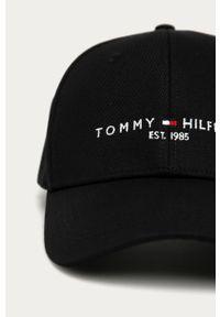 Czarna czapka z daszkiem TOMMY HILFIGER z nadrukiem