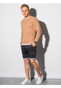 Ombre Clothing - Bluza męska bez kaptura bawełniana B1146 - jasnobrązowa - XXL. Typ kołnierza: bez kaptura. Kolor: brązowy. Materiał: bawełna. Styl: klasyczny, elegancki