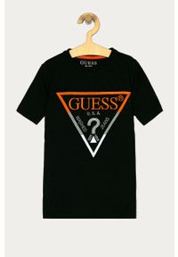 Czarny t-shirt Guess na co dzień, casualowy, z aplikacjami