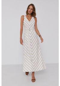 DKNY - Dkny - Sukienka. Okazja: na co dzień. Kolor: biały. Materiał: tkanina. Typ sukienki: proste. Styl: casual