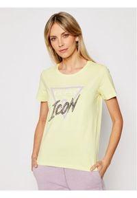 Guess T-Shirt Icon Tee W1RI25 I3Z00 Żółty Regular Fit. Kolor: żółty