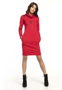 Czerwona sukienka wizytowa Tessita z kominem, mini