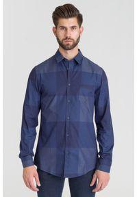 Niebieska koszula Trussardi Jeans biznesowa, na lato, na spotkanie biznesowe