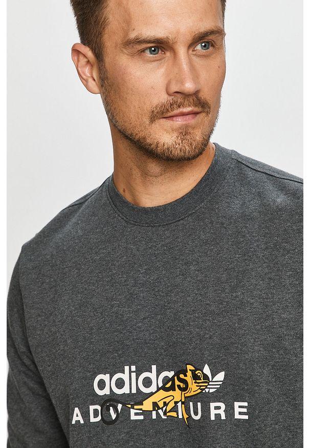 Szara bluza nierozpinana adidas Originals casualowa, z nadrukiem, na co dzień