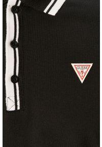 Czarna koszulka polo Guess polo, krótka, z aplikacjami