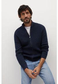 Niebieski sweter rozpinany Mango Man na co dzień, gładki, casualowy