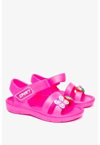 Casu - Różowe sandały piankowe na rzep z ozdobą casu t452. Zapięcie: rzepy. Kolor: różowy. Wzór: aplikacja