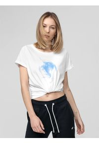 4f - T-shirt damski. Kolor: biały. Materiał: dzianina. Długość rękawa: krótki rękaw