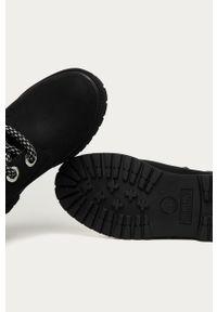 Czarne botki Timberland z okrągłym noskiem, na sznurówki